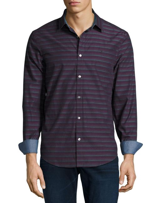 Original penguin horizontal striped long sleeve shirt in for Horizontal striped dress shirts men