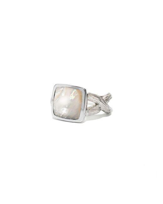 Elizabeth Showers | Metallic Deco Cushion-cut Mother-of-pearl Ring W/branch Shank | Lyst