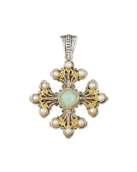 Konstantino   Metallic Sea Blue Agate & Pearl Cross Pendant   Lyst
