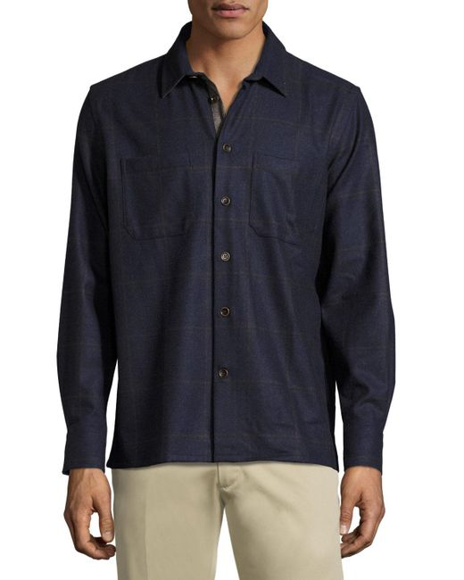 Luciano Barbera | Blue Plaid-print Cashmere-blend Shirt for Men | Lyst