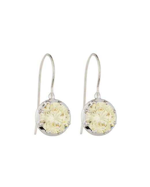 Fantasia by Deserio | Metallic Cz Round-cut Canary Dangle & Drop Earrings | Lyst