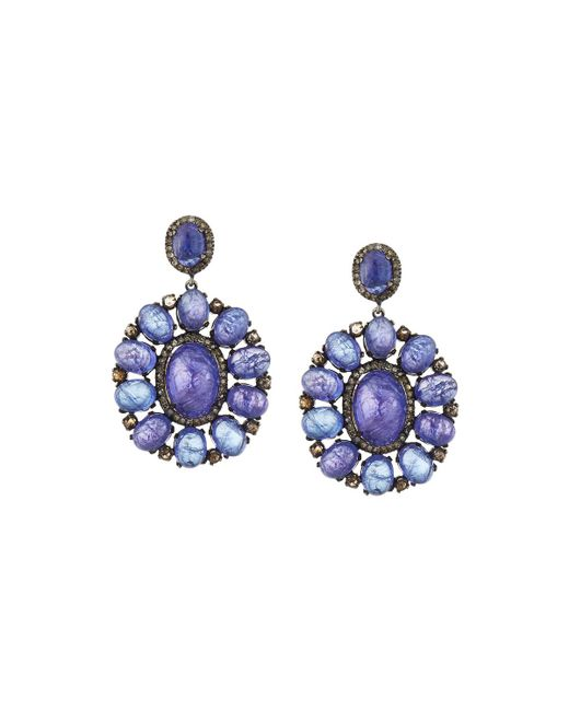 Champagne Tanzanite Tanzanite: Bavna Tanzanite & Diamond Statement Drop Earrings In Blue