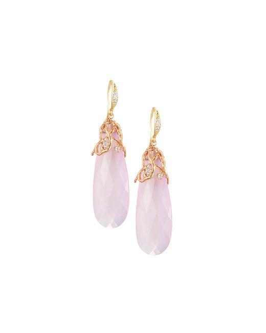 Indulgems | Pink Lavender Chalcedony Drop Earrings | Lyst