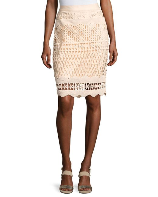 Kendall + Kylie - Natural Crochet-overlay Pencil Skirt - Lyst