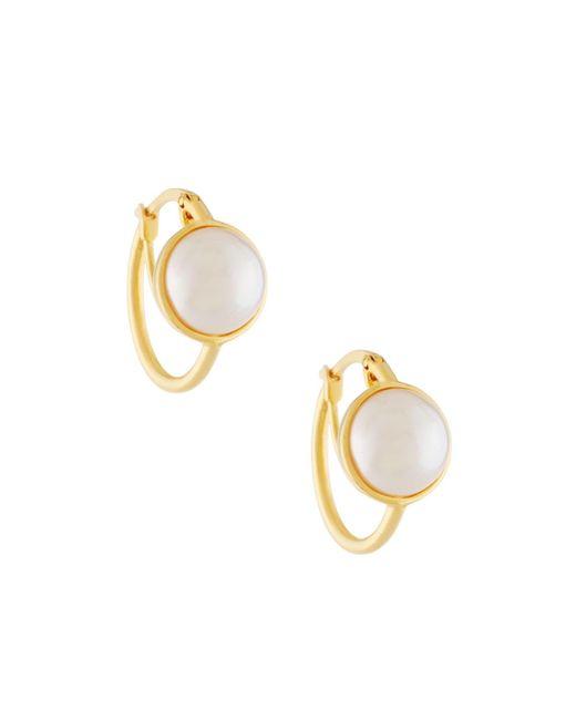 Majorica | Metallic Mabe Pearl Hoop Earrings | Lyst