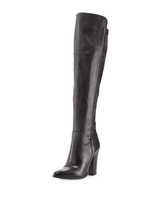 Charles David   Black Chela Stretch Leather Boot   Lyst