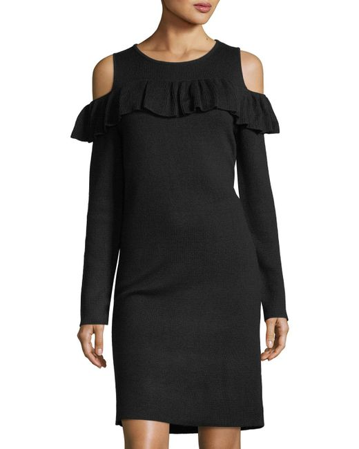 Catherine Malandrino - Black Cold-shoulder Sweaterdress - Lyst