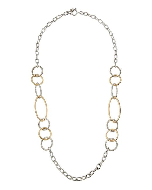 Lydell NYC | Metallic Long Two-tone Link Necklace | Lyst