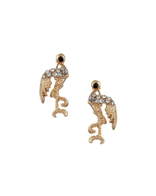 Lydell NYC | Metallic Golden Crystal Flamingo Stud Earrings | Lyst