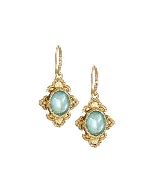 Armenta   Green Old World 18k Scroll Triplet Drop Earrings W/ Mixed Diamonds   Lyst
