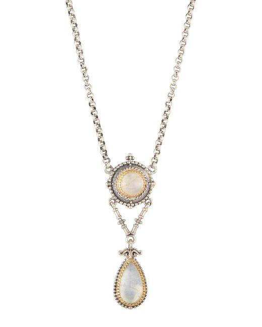 Konstantino | White Erato Labradorite Doublet 2-drop Pendant Necklace | Lyst