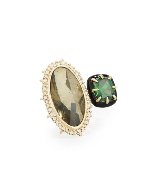 Alexis Bittar | Green Pyrite & Emerald Cubic Zirconia Cocktail Ring | Lyst