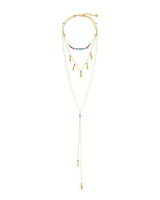 Nakamol   Multicolor Triple-row Layered Choker Y-drop Necklace   Lyst