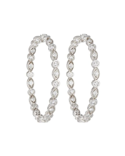 Penny Preville | 18k White Gold Marquise & Round Diamond Hoop Earrings | Lyst