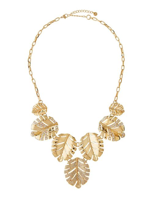 Lydell NYC   Metallic Crystal Leaf Drop Necklace   Lyst