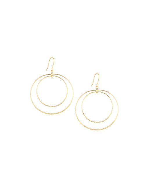 Panacea   Metallic Golden Double-circle Drop Earrings   Lyst