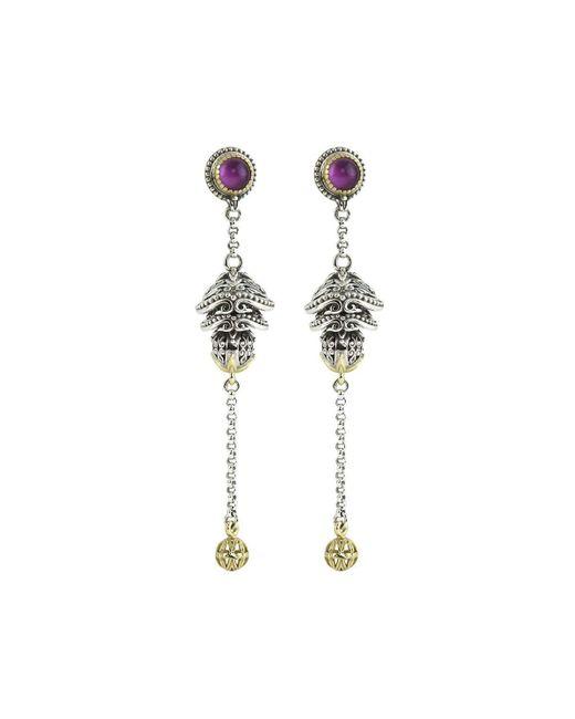 Konstantino | Purple Erato Ornate Bulb & Chain Amethyst Doublet Dangle Earrings | Lyst