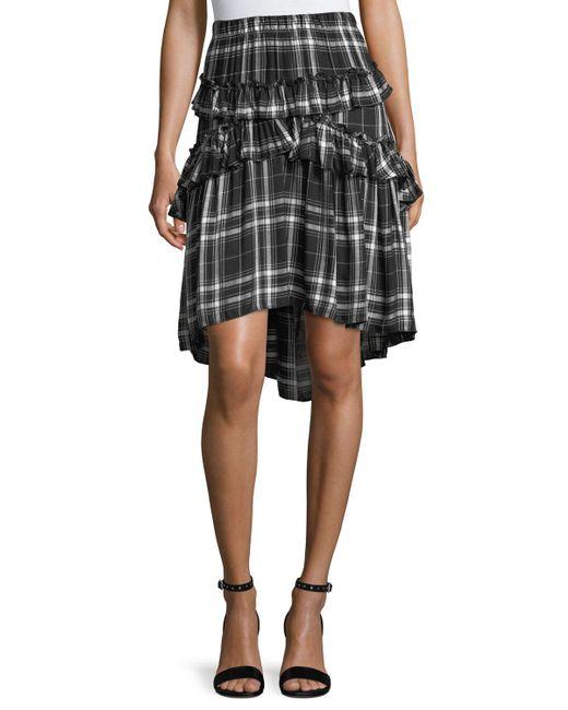 Max Studio   Black Ruffled Plaid Skirt   Lyst