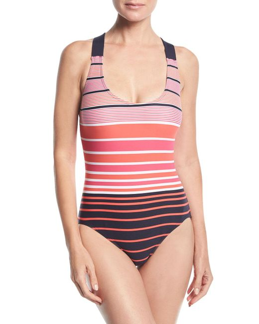 MICHAEL Michael Kors | Pink Striped One-piece Swimsuit | Lyst