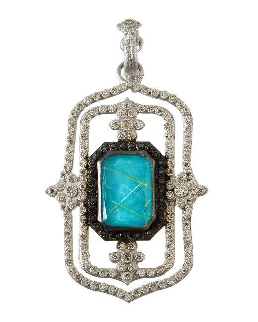 Armenta - Blue New World Large Doublet Scroll Enhancer Pendant With Diamonds - Lyst