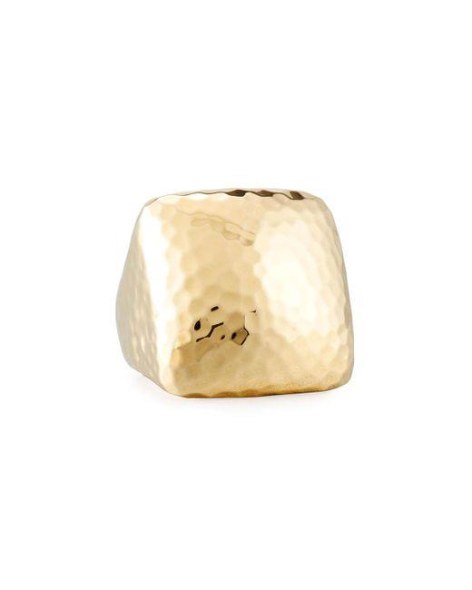 Roberto Coin | Metallic Martellato Square 18k Gold Ring | Lyst
