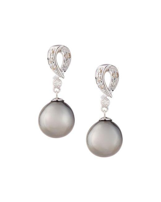 Belpearl | Metallic Dangling Diamond Tahitian Pearl Drop Earrings | Lyst