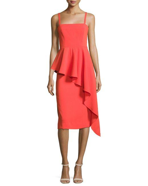 MILLY | Red Italian Cady Cascading Ruffle Midi Sheath Dress | Lyst