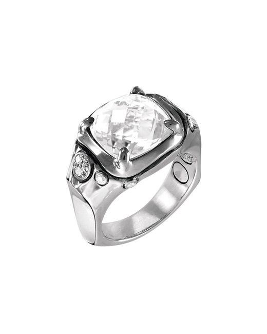 John Hardy - Metallic Batu Silver Cushion Ring W/ White Topaz - Lyst