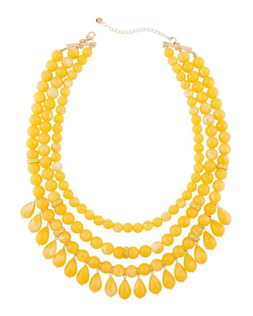Lydell NYC - Yellow Multi-row Beaded Statement Necklace W/ Dangles - Lyst