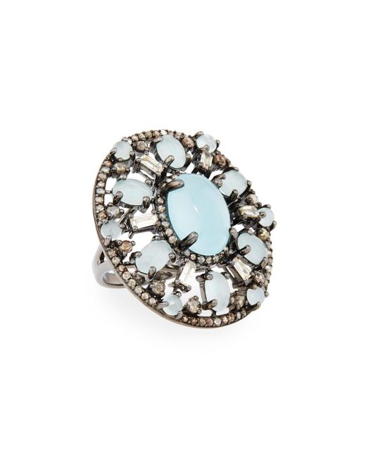 Bavna - Metallic Silver Oval Ring With Aquamarine & Diamonds - Lyst