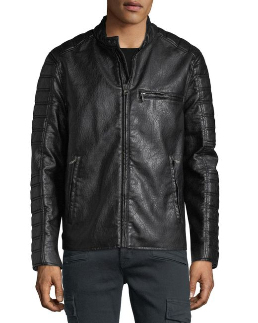 Marc New York | Black Distressed Faux-leather Moto Jacket for Men | Lyst