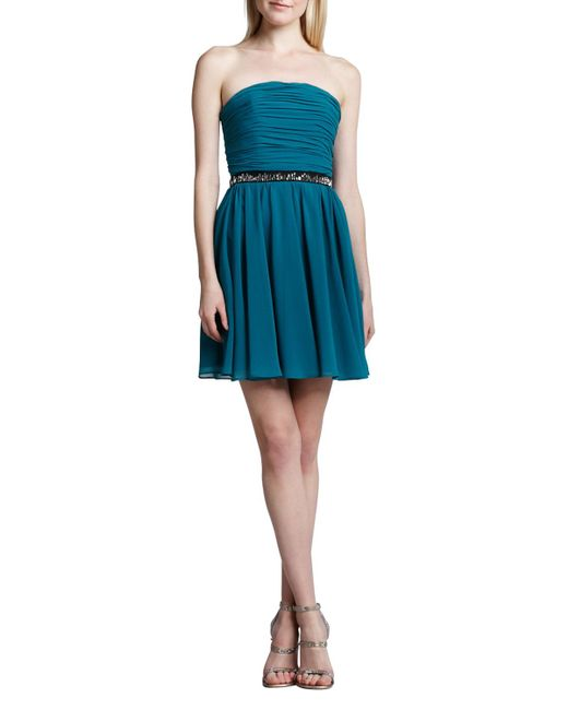 Erin Fetherston - Blue Strapless Fit-and-flare Dress - Lyst