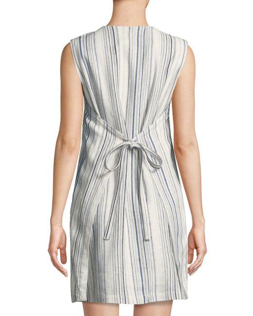 f0f915bfa5d ... Neiman Marcus - Blue Tie-back Striped Linen Tunic Dress - Lyst ...