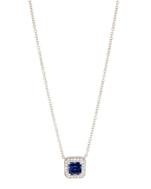 Fantasia by Deserio - Blue Square Halo Pendant Necklace - Lyst