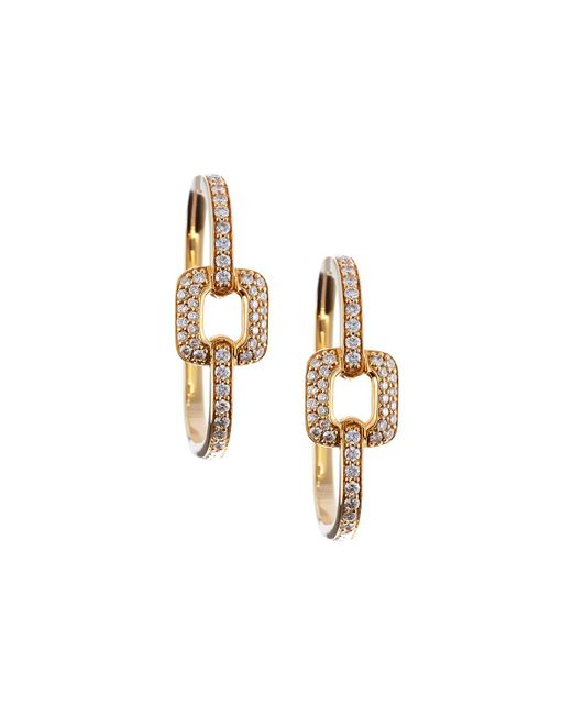 Mimi So | White Piece 18k Yellow Gold Square Diamond Station Hoop Earrings | Lyst