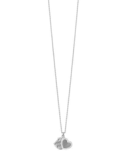 John Hardy - Metallic Silver Diamond Double Heart Locket Necklace - Lyst