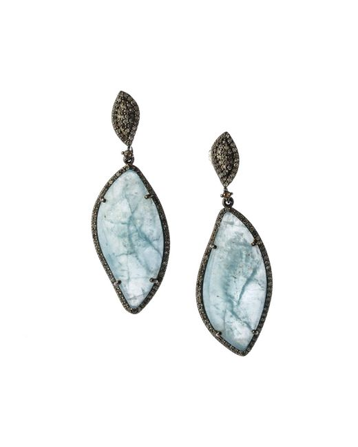 Bavna - Metallic Silver Drop Earrings With Champagne Pave Diamonds & Freeform Aquamarine - Lyst