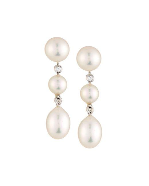 Belpearl - Multicolor 14k Diamond & Triple Pearl Drop Earrings - Lyst
