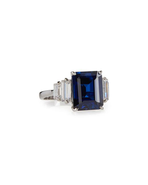 Fantasia by Deserio - Blue Emerald-cut Simulated Sapphire Cocktail Ring - Lyst
