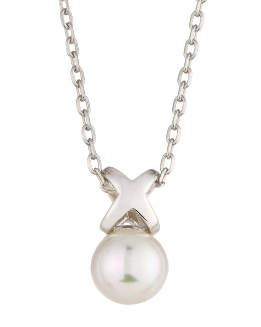 Majorica   White Sterling Silver Infinity Pearl Pendant Necklace   Lyst