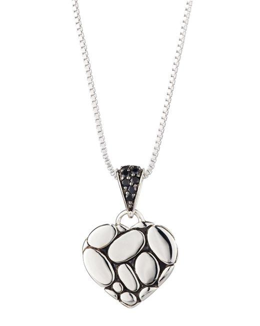 John Hardy - Kali Lava Heart Pendant Necklace W/ Black Sapphires - Lyst