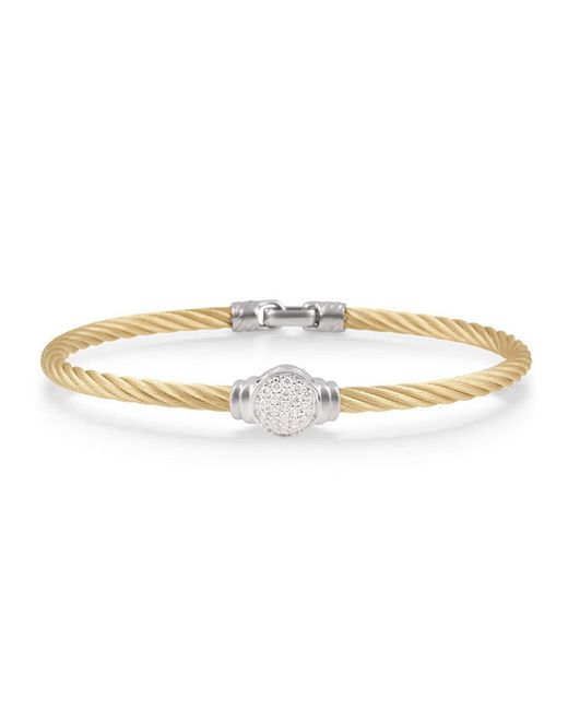 Alor - Metallic Round Pave Diamond Cable Bracelet Yellow - Lyst