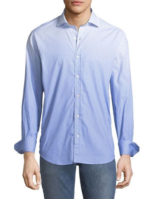 Bugatchi - Shaped Fit Dotted Ombre Sport Shirt. Blue for Men - Lyst