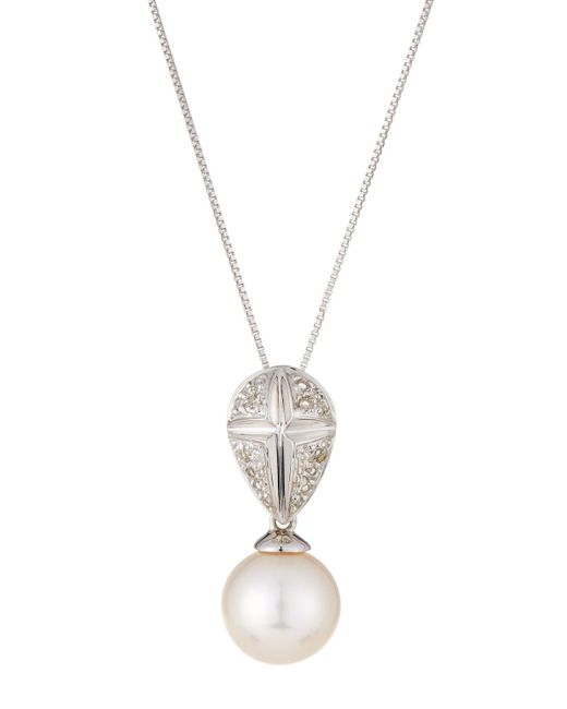 Belpearl | 14k White Gold Pearl & Diamond Pendant Necklace | Lyst