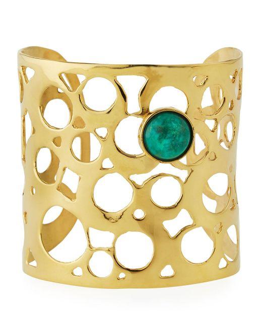 Devon Leigh   Metallic Wide Cutout Cuff Bracelet W/ Green Cabochon   Lyst