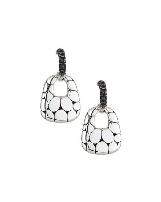 John Hardy - Metallic Kali Silver Lava Drop Earrings W/ Black Sapphires - Lyst