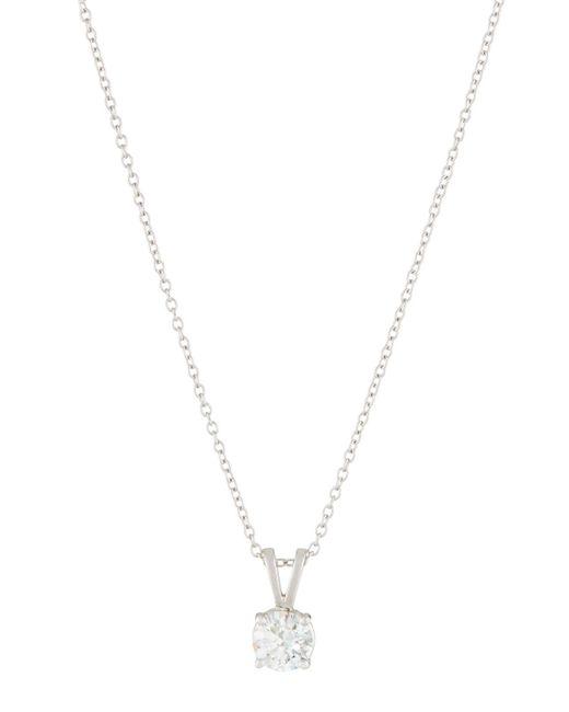Neiman Marcus - 18k White Gold Diamond Solitaire Pendant Necklace - Lyst