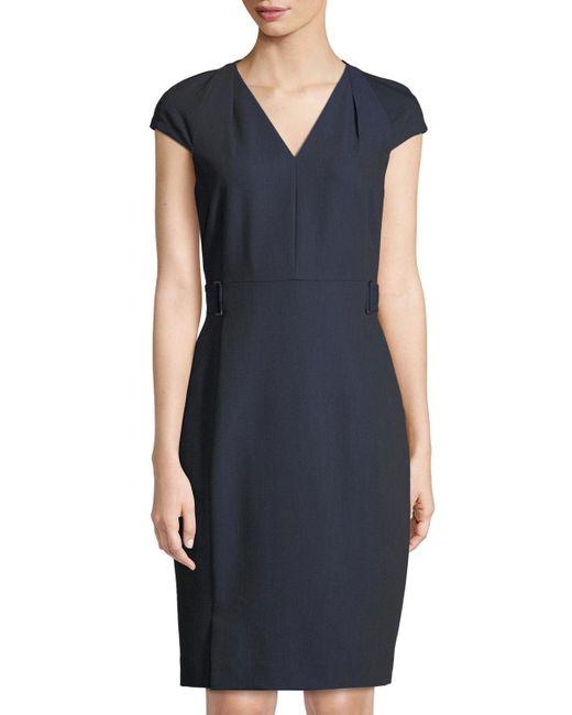 Tahari - Blue Ren V-neck Twill Sheath Dress - Lyst