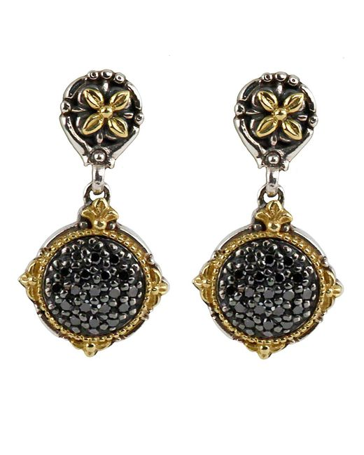 Konstantino | Asteri Pave Black Diamond Round Double-drop Earrings | Lyst