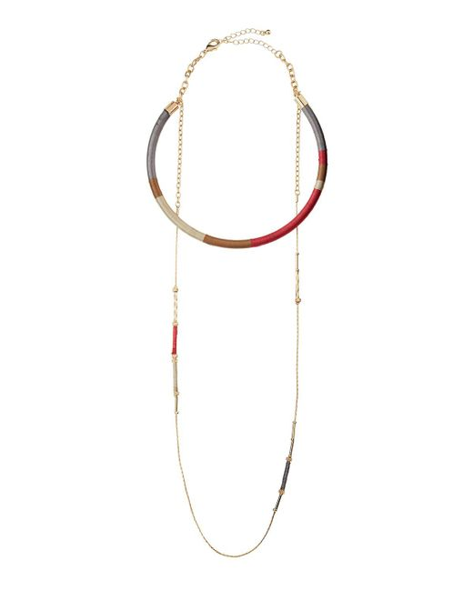 Fragments | Metallic Thread-wrapped Choker W/ Long Chain Necklace | Lyst